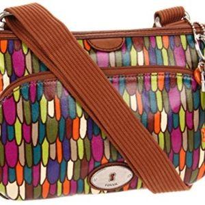 Handbags - Fossil Key Per Top Zip Coated Canvas Crossbody